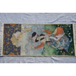 Bilderteppich, Persienjunges Paar in einer idealen Landschaft. Ca. 194 x 91 cm.