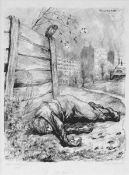 Baluschek, Hans(Breslau 1870 - 1935 Berlin)Am ZaunLithographie, 1920, 368x264, sign., dat.,
