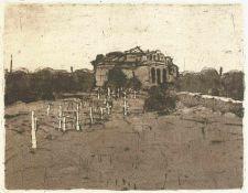 Butzmann, Manfred(geb. 1942 Potsdam, lebt in Bornim)Friedhof in MoldawienRadierung, Aquatinta, 1975,