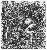 """Cremer, Fritz(Arnsberg/Ruhr 1906 - 1993 Berlin)aus dem Zyklus """"Walpurgisnacht"""" Blatt 28: Mephisto"""