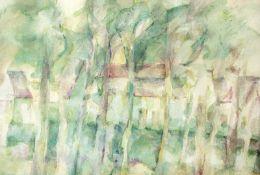 Brömme, Renate(geb. 1936 Halle/Saale, lebt in Halle)Landschaft in Kröllwitz (Halle)Aquarell, 1975,