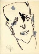 Dähn, Fritz(Heilbronn 1908 - 1980 Heilbronn, lebte in Berlin)Männlicher KopfZeichnung, Feder, Tusche