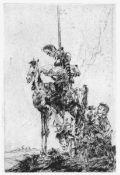 Goßmann, Gerhard(Guben 1912 - 1994 Bad Saarow)Don QuichotteRadierung, o. J., 170x111, Blattgröße: