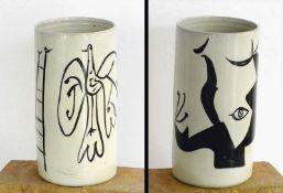 Graetz, René(Berlin 1908 - 1974 Graal-Müritz)Vase, bemaltKeramik, 1963, Zylinder, Höhe: 235,