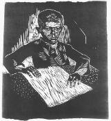 Grundig, Hans(Dresden 1902 - 1958 Dresden)Lesender ArbeiterjungeLinolschnitt, 1930/32, 280x245 (