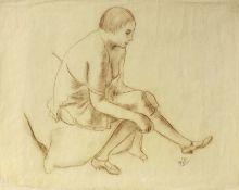 Dressler, August Wilhelm(Bergesgrün 1886 - 1970 Berlin)Sitzender weiblicher AktZeichnung, braune