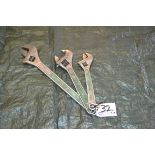 """Lot 32 - 15"""", 18"""", 24"""" Crescent Wrenches"""