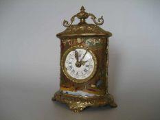 """Reise Uhr, Frankreich, 19. Jh., Bronzegehäuse bemalt, Werk: """"Huitaine Echapt"""", H24 B 16 T 10 cm,"""