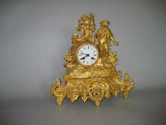 Kaminuhr Frankreich, Mitte 19.Jh., Gehäuse Zink Guss, Werk: Nr.: 548, Schlag auf Glocke, ohne
