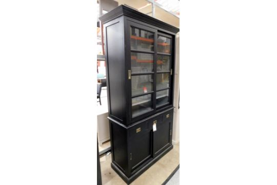 Eichholtz Matt Black Display Cabinet With Step Pediment, Twin Glazed
