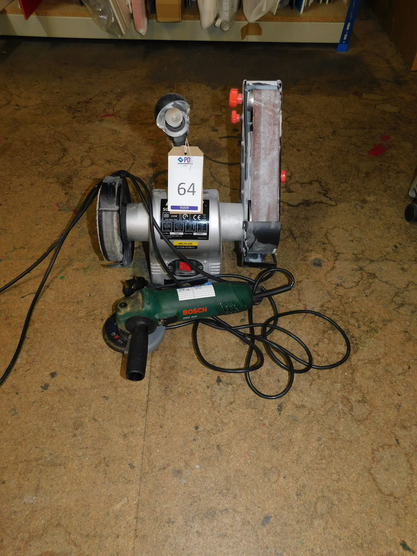 Los 64 - Rexon SG261A Linisher/ Polisher & Bosch PWS600 Angle Grinder (Located Northampton – See General