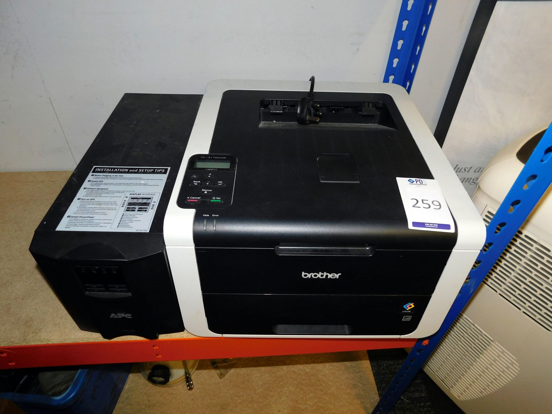 Los 259 - Brother HL-3170CDW Printer & APC Smart-UPS 1500 (Located Upminster – See General Notes for Full