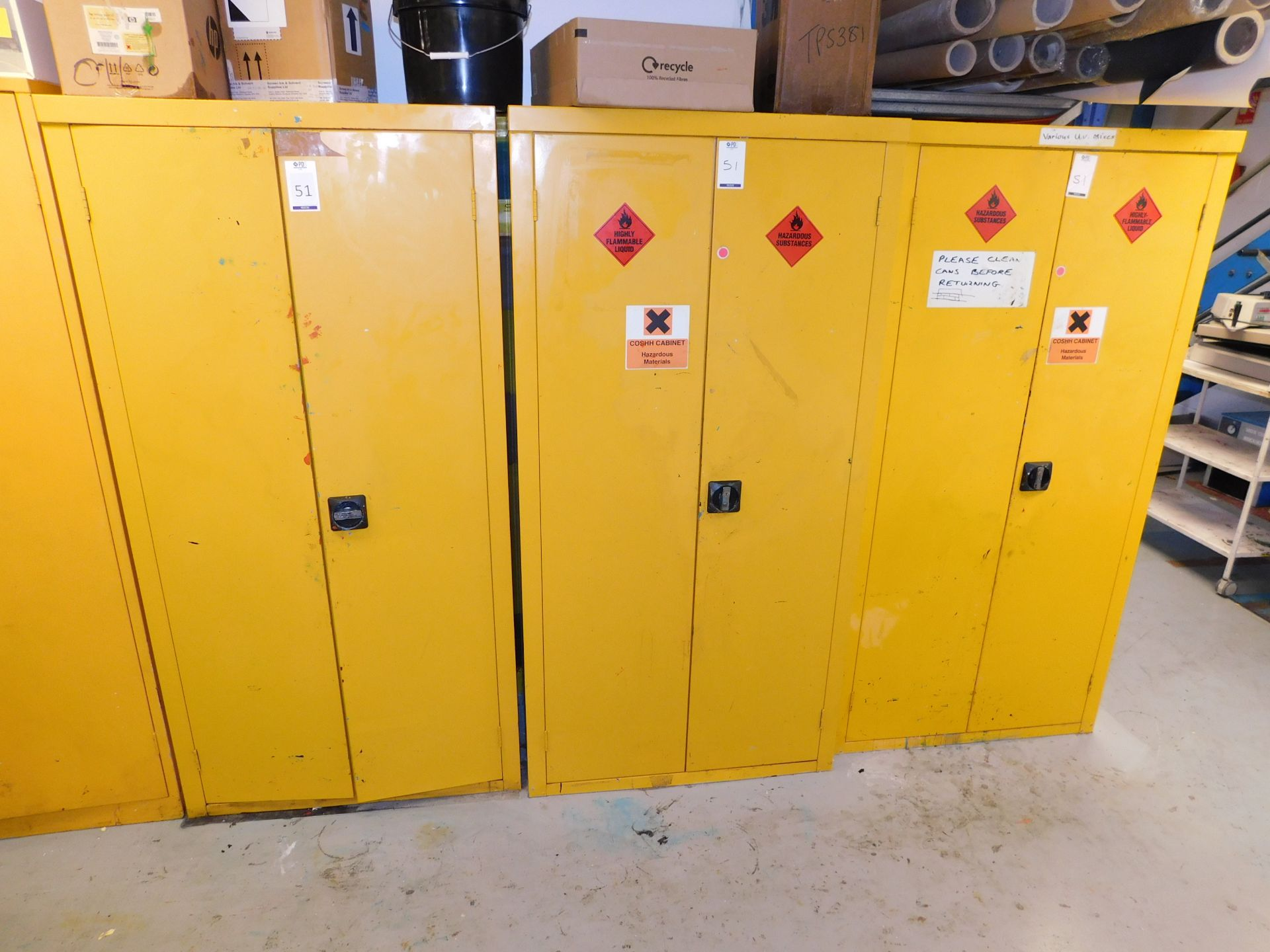 Los 51 - 3 Fire Resistant Double Door Cabinets & Contents to Include Quantity of Screen Printing