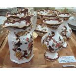 Lot 344 - Tray of Mason's Ironstone 'Brown Velvet' items to include; pouch shaped dresser jugs, pedestal bowl,