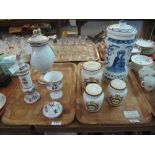 Lot 342 - Two trays of reproduction apothecary jars and similar vessels with various text,