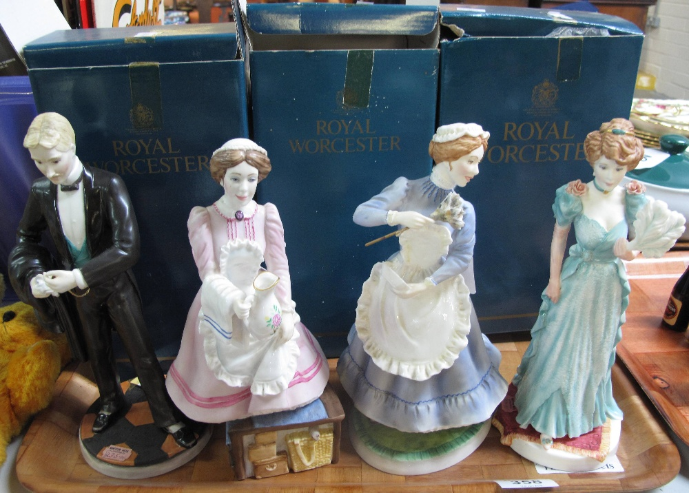 Lot 358 - Four Royal Worcester figurines to include: 'The gentleman of the house', 'The lady of the house',