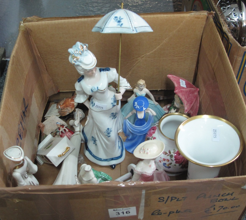 Lot 316 - Box of assorted china to include; various continental figurines, miniature Aynsley mantel clock,