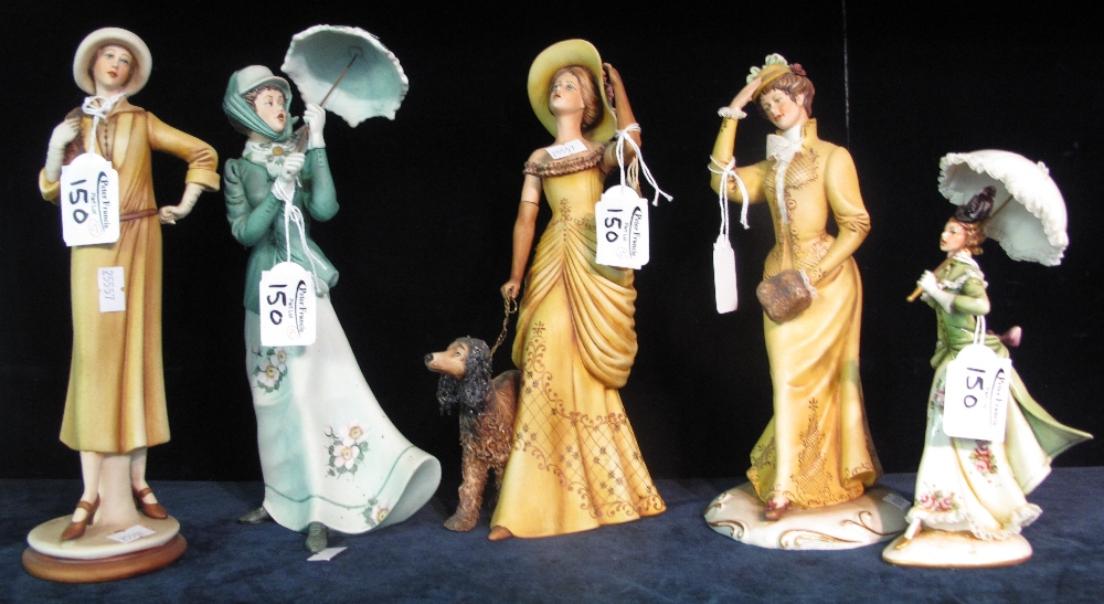 Lot 150 - Five Capodimonte Italian figurines of ladies Edwardian/Art Deco period with umbrellas and dog.