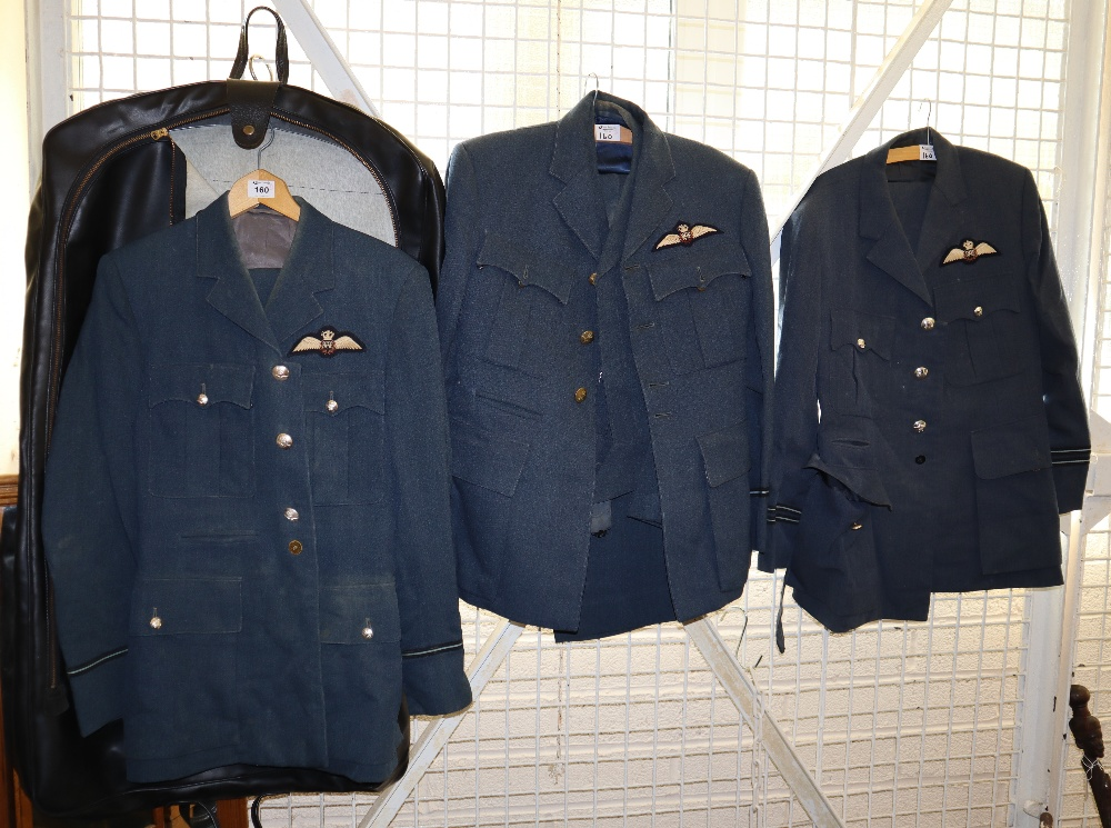 Lot 160 - Three RAF Officers uniforms to include; three jackets and one blouson and three pairs of trousers.