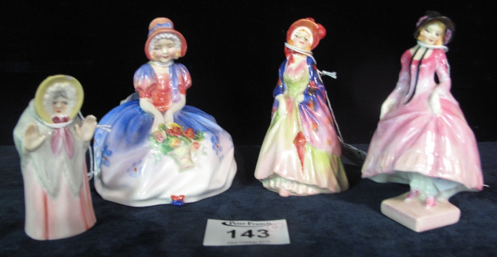 Lot 143 - Three Royal Doulton bone china figurines to include; 'Monica' HN1467, 'Pantalettes',