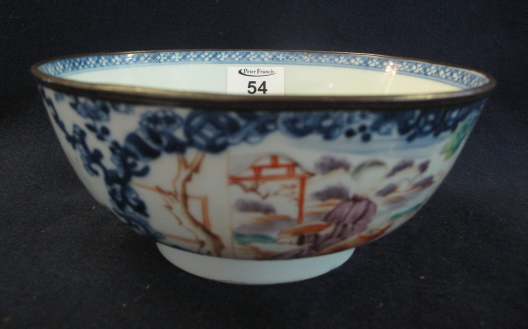Lot 54 - 18th Century Chinese porcelain famille rose bowl with a copper clad rim,
