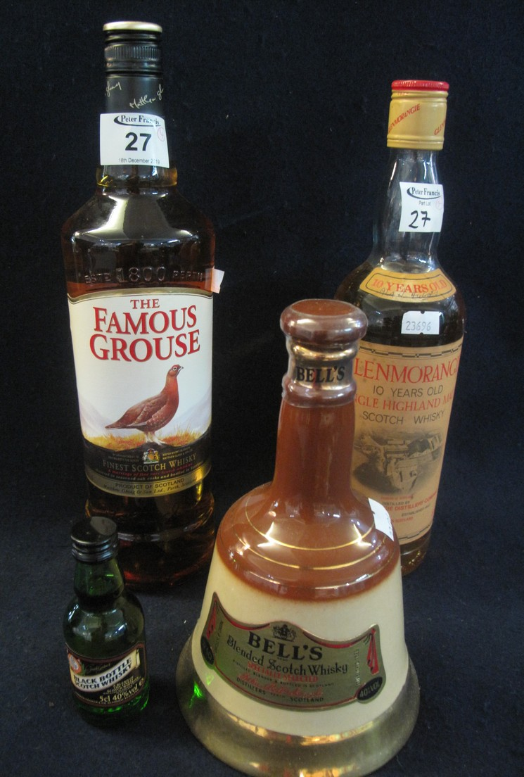 Lot 27 - Collection of whiskies to include; The Famous Grouse, 10 years old Glenmorangie,