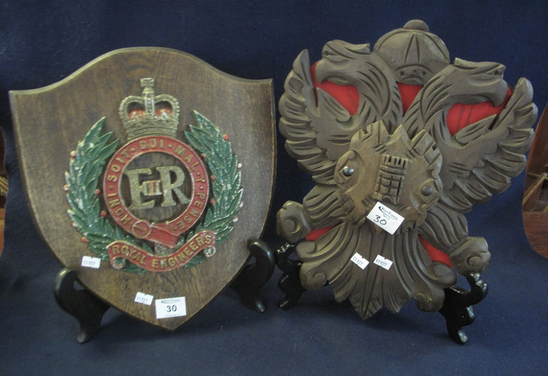Lot 30 - British military oak shield shaped plaque with metal armorial for the Royal Engineers,