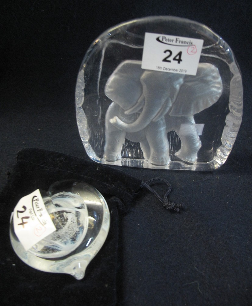 Lot 24 - Caithness glass 'True heart' paperweight in velvet pouch,