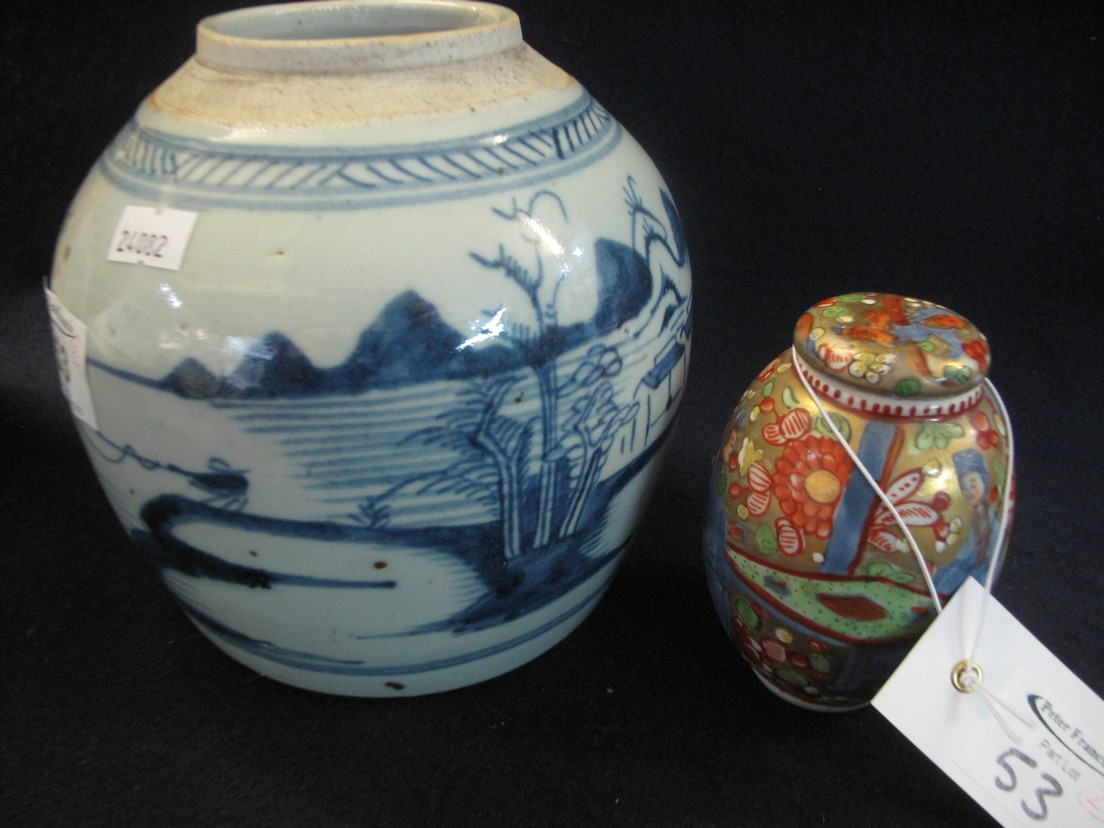 Lot 53 - Chinese porcelain lidded pot of ovoid form probably clobbered in iron red and green enamels,