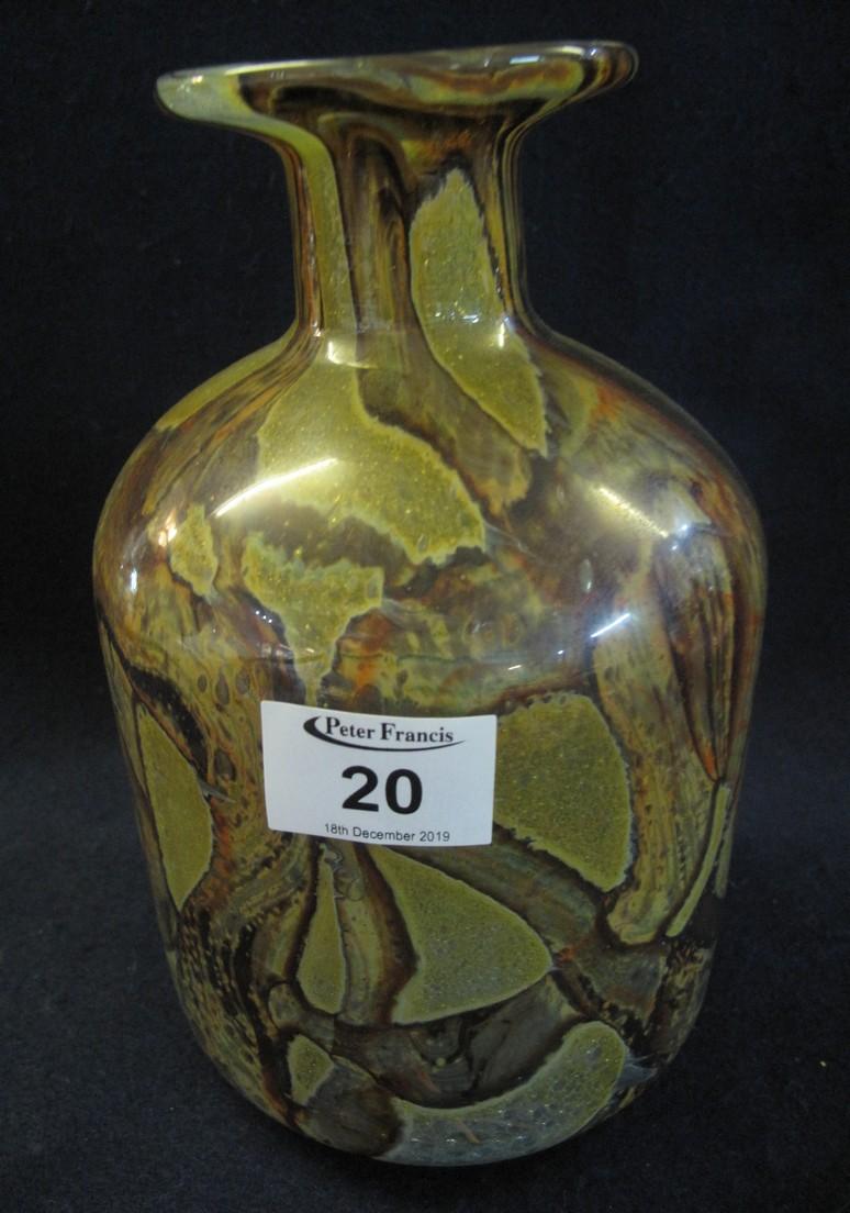 Lot 20 - Medina style art glass mallet shaped vase, unmarked. (B.P. 24% incl.