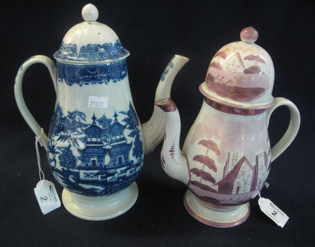 Lot 2 - 19th Century Cambrian pottery pink lustre baluster shaped coffee pot,