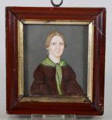 Miniaturum 1830/40, Miniatur auf Elfenbein, Biedermeier-Portrait einer Frau, H. 7, B. 6, Ra.
