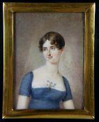 Miniatur19. Jhd., rechteckige Miniatur, Portrait einer jungen Frau, sie trägt ein blaues Kleid mit