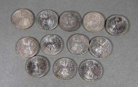 Satz 5 DM-Münzen625er Silber, 12 Stk. 5 DM Silbermünzen 1968 Max von Pettenkofer, Gebr.sp., ges. ca.