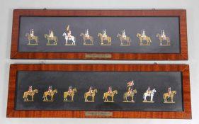 Satz Zinnfiguren16 Zinnfiguren, polychrom staffiert in Rahmen, 8 Stk. Kaiserreich Österreich Drag.