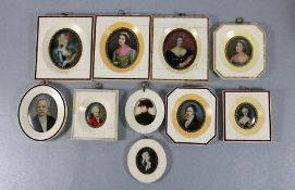 Konvolut Miniaturen in Zierrähmchen10 Miniaturen, Portraits, in Elfenbein-Rähmchen, verschiedene