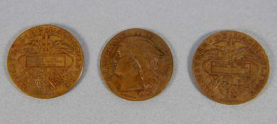 Konvolut Medaillen Ministaire de l'Agriculture1880er u. 90er Jahre, 3 Medaillen, Bronze, Enwurf H.
