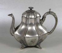 Zinn-Teekanne 19. Jhd., Großbritannien, Zinn, Teekanne in Birnenform, Deckelknauf in Form einer