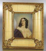 Miniatur im ZierrahmenMiniatur, Portrait der Elise List, nach dem Originalgemälde aus der