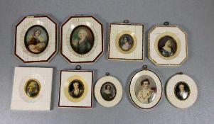 Konvolut Miniaturen in Zierrähmchen9 Miniaturen, Portraits, in Elfenbein-Rähmchen, verschiedene