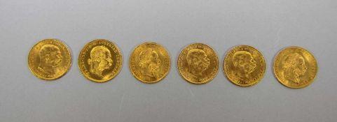 Konvolut österr. Goldmünzen900er und 986er GG, 6 Goldmünzen Österreich je mit versch. Profilen