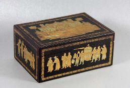 asiatische Schatulleschwarze asiatische Schatulle, wohl mit Lack, Deckel und Seiten mit goldfarbenem