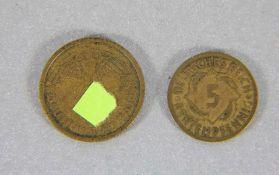 Konvolut Münzen Dt. Reich2 Stk. Münzen, 5 Rentenpfennig Deutsches Reich A dat. 1924, 10