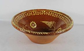große Keramikschüsselwohl Elsass, große runde Keramikschüssel, rotbraun glasiert mit gelbem