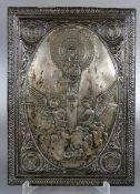 Andachtsbild Reliefwomöglich versilbert, Metallrelief, Andachtsbild der Nuestra Señora del Pilar aus