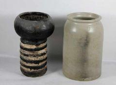 Konvolut Keramik2tlg., Steingutgefäß und Terracottavase diese mit Sprüngen u. gechipt, Gebr.sp.,