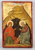 Weihnachts-Ikone20. Jhd., Griechenland, Weihnachts-Ikone, Joseph und Maria im Stall, mittig das