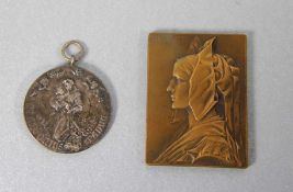 Konvolut Plaketten2 Stk., 1mal Bronze-Plakette Alsace Entwurf Georges-Henri Prud'home dat. 1919