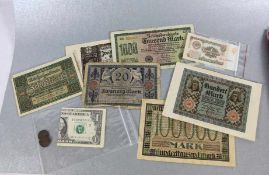 Konvolut Papiergeld10tlg., 5 versch. Reichsbanknoten, 1 Schein Württemb. Notenbank, 1 Schein