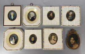 Konvolut Miniaturen in Zierrähmchen8 Miniaturen, Portraits, davon 6 Stk. in Rähmchen wohl